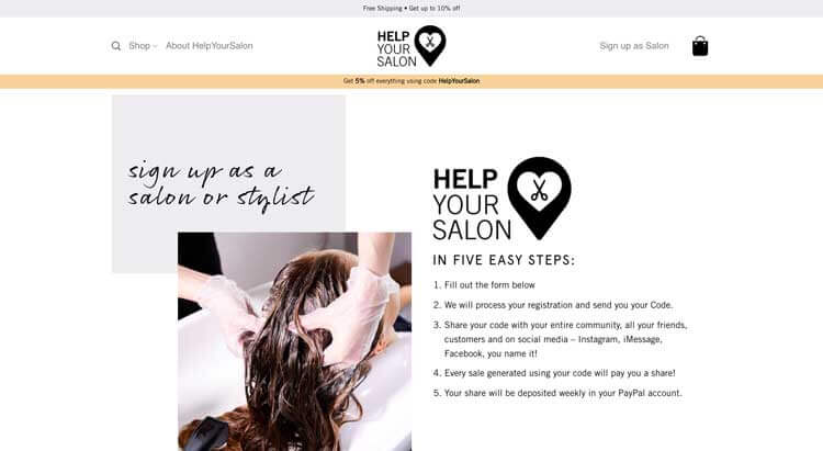 Sign up as Salon helpyoursalon